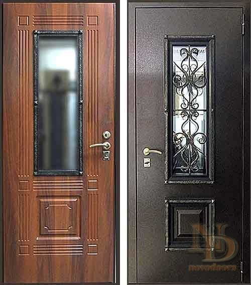 металлические уличные двери с ковкой и стеклом